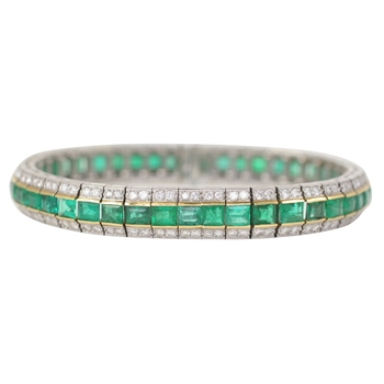 "Emerald and Diamond ""Railroad"" Bracelet"