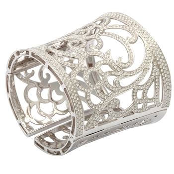 VERGANO Diamond and White Gold Hinged Tapered Cuff Bracelet