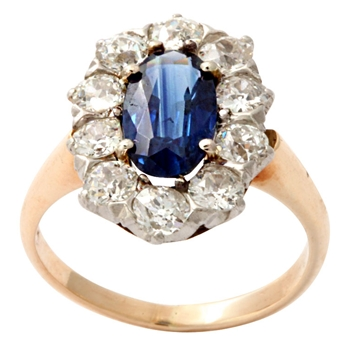 Gold and Platinum Sapphire Ring