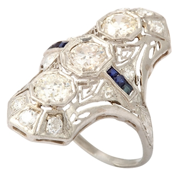 Platinum Diamond and Sapphire Dinner Ring