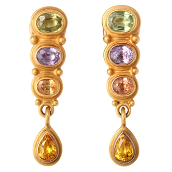 Gold and Fancy Color Sapphire Earrings