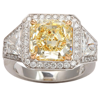 Fancy Yellow Radiant Cut Diamond Ring