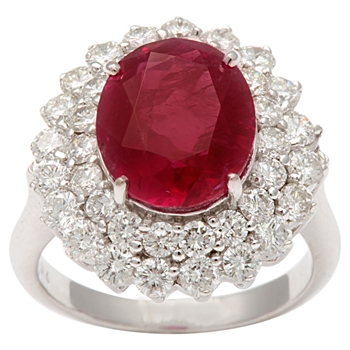 Burma Natural Ruby Diamond Ring