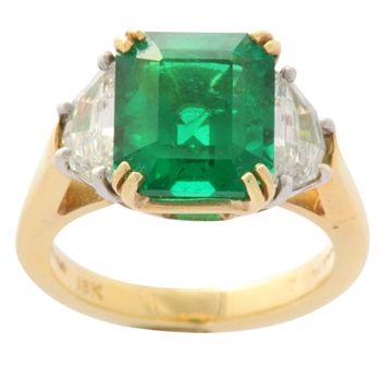 Superior Emerald and Diamond Ring