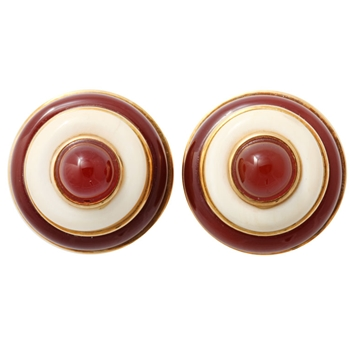 Gold Carnelian and Ivory BullsEye Earrings