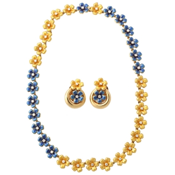 Blue Enamel Diamond Gold Necklace and Earclips