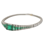 Art Deco Emerald & Diamond Line Bracelet
