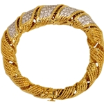 18k Yellow Gold Ribbon Flexible Bangle Bracelet