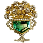 Buccelati Tourmaline and Diamond Flower Pot Brooch