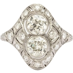 1920s Diamond Platinum Dinner Ring